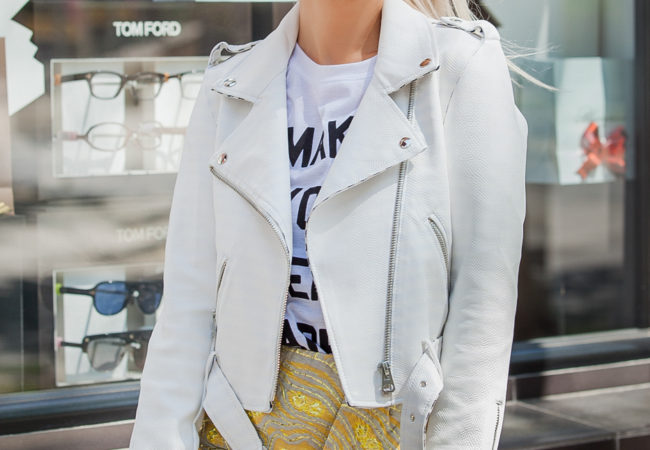White lether jacket